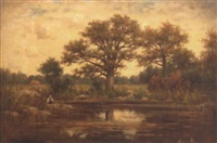 landscape with pond and trees by emile leroux
