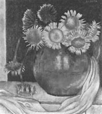 strauss mit kleinen sonnenblumen in bauchiger vase by albert locca