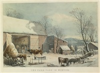 the farm-yard in winter by currier & ives (publishers)