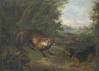 ein dackel und ein fuchs begegnen sich am wald by johann elias ridinger