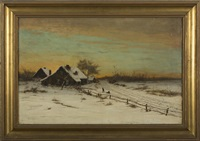 winter landscape with cabin at sunset by robert kluth