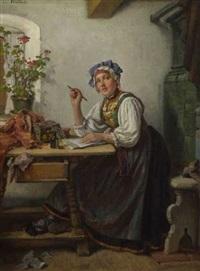 junge bäuerin beim schreiben eines briefes by joseph watter