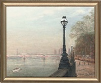 battersea bridge at dawn by john spencer churchill