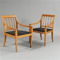 laquered armchairs (pair) by frits henningsen