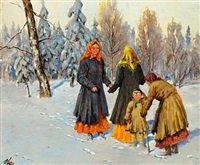 a wintry scene with russian women and a boy by olga aleksandrovna (princess of storfyrstinde)