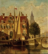 amsterdamer grachtansicht by john frederik hulk the younger