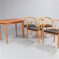 gaming table with matching armchairs (set of 5) by a. & j. wessmann