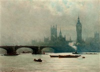 the houses of parliament in the early morning mist (+ london bridge; pair) by william a. macdonald