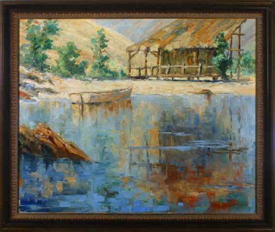 coastal inlet shack and skiff by george sumner colman