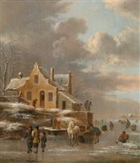 winterlandschaft mit pferdekarren und eisläufern by klaes molenaer