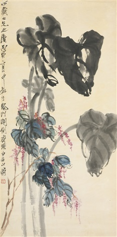 taro leaves and red swartweed by qi baishi