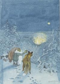 där du, mäster räv. där ser du den eviga julaftonens by... by harald wiberg