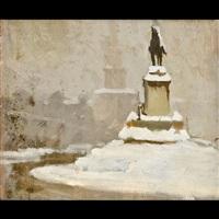 nevicata (veduta di milano sotto la neve) by ernesto alcide campestrini