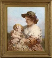 mother with a sleeping child by james john hill