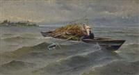 bäuerin beim übersetzen mit ihrem reisigbeladenen kahn auf dem chiemsee by karl raupp