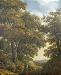 bewaldete anhöhe mit blick in die ebene mit stadtsilhouette, im vordergrund figurenstaffage by adriaen hendricksz. verboom