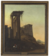 riders by italianate ruins with a seaport beyond by thomas wijck