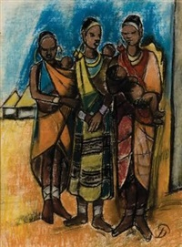 african mothers with their children by pranas domsaitis