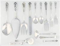 flatware service (rose point pattern; 70 pieces) by r. wallace & sons (co.)