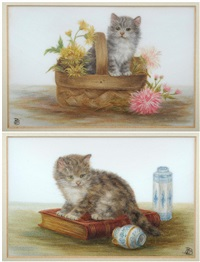 kitten in a basket of flowers and kitten on a book with pottery nearby (pair) by bessie bamber