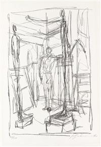 personnage dans l'atelier by alberto giacometti