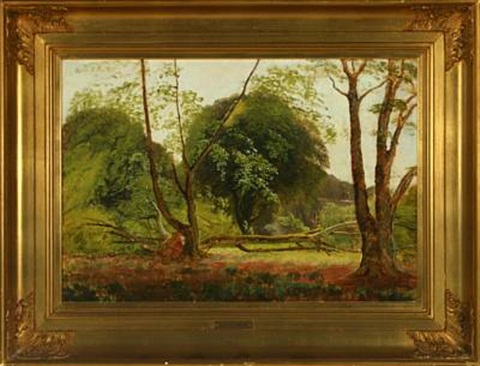 forest with brought down tree, in the background house by carl frederik peder aagaard