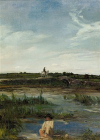 knabe am teich by adolphe pierre leleux