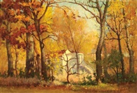 wooded scene with house in autumn, valley park, mo by gustave f. goetsch