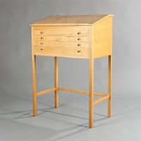 free-standing cherry wood writing desk by helge vestergaard jensen