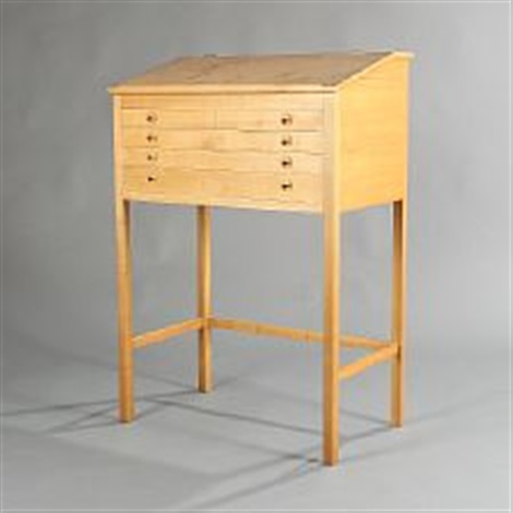 Free Standing Cherry Wood Writing Desk By Helge Vestergaard Jensen