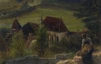 pappenheim - junge frau an der mauer über der klosterkirche by karl raupp