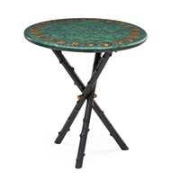 side table with roman coin design by piero fornasetti