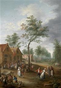 ein dorffest; die ankunft eines gastes (2 works) by jan anton garemyn