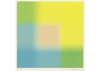 square lame yellow and blue around medium (+ square lame yellow and pink around white; set of 2) by hisahi momose