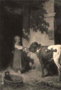 bauernmädchen beim füttern eines kalbes by henryk pillati