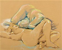 composition with two naked women by tove olafsson
