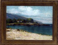 hawaiian coastline with a cottage in the distance by mary j. coulter