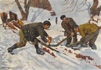 waldarbeiter beim sägen im schnee by hans gartmeier