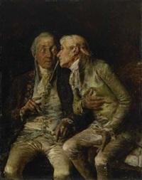 zwei ältere kavaliere in angeregtem gespräch by antonio lonza