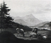 weidende kühe und ziegen im gebirgstal by jakob roedler