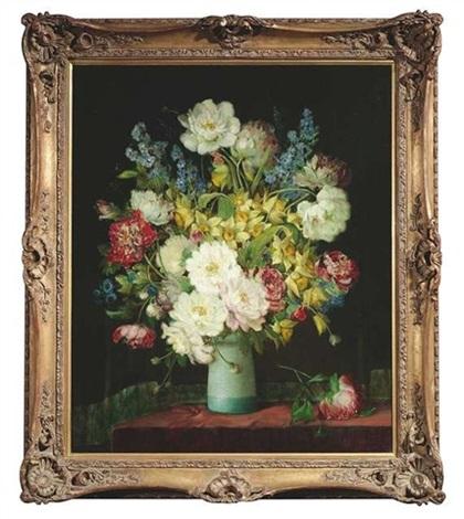 stilleben mit blumen in einer türkisfarbenen vase vor dunkelgrünem vorhang by j voisard