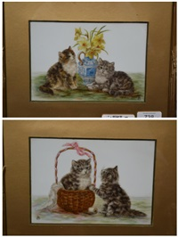 two kittens beside a vase of daffodils and two kittens beside a sewing basket (pair) by bessie bamber
