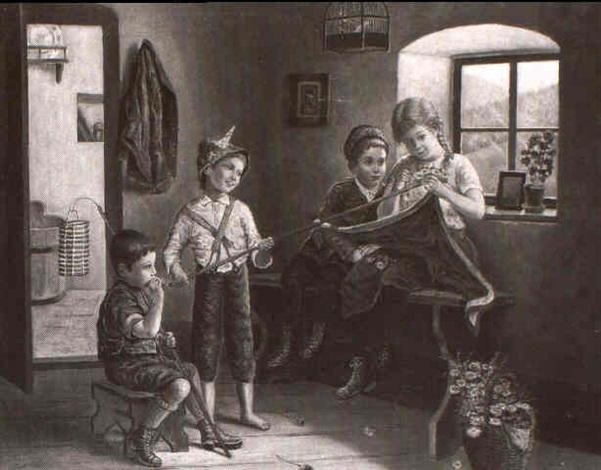 vier kinder beim schmücken der fahne in der bauernstube by edmund adler