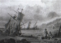beached fishing boats by samuel austin