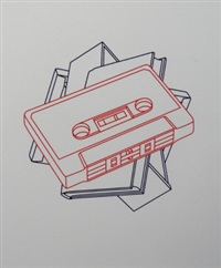 cassette, book, canvas and drawer (from the order of appearance suite) (4 works) by michael craig-martin