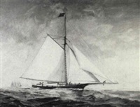 depicting the schooner cora of benton harbor, michigan by thomas h. chilvers