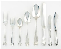flatware service (newport shell pattern; 77 pieces) by frank smith