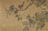 cherry, chrysanthemum and birds by ai qimeng