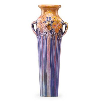 exceptional tall vase with stylized flowers eosin glaze by zsolnay  sc 1 st  Artnet & Exceptional tall vase with stylized flowers eosin glaze by Zsolnay ...