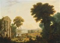 pastorale landschaft mit antiker tempelruine by karoly marko the younger